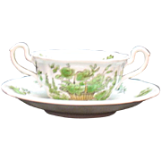Vintage Spode Copeland 12 Bouillon Cup & Saucer Sets Bone China Green basket Pattern #8135 Very Good Condition