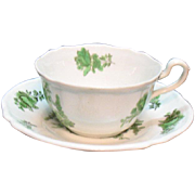 Vintage Spode Copeland Cup & Saucer Set Plus 5 Cups Bone China Green Basket Pattern #8135 Very Good Condition