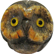 Vintage Hand Carved Alabaster Owl Paperweight Italy 1960s Very Good Condition