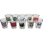 Vintage Souvenir Collection Railroad Shot Glasses 1970-80s Very Good Condition