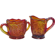 Vintage Indiana Glass co. Carnival Glass Sugar & Creamer 1970s Iridescent Sunset Heirloom Pattern