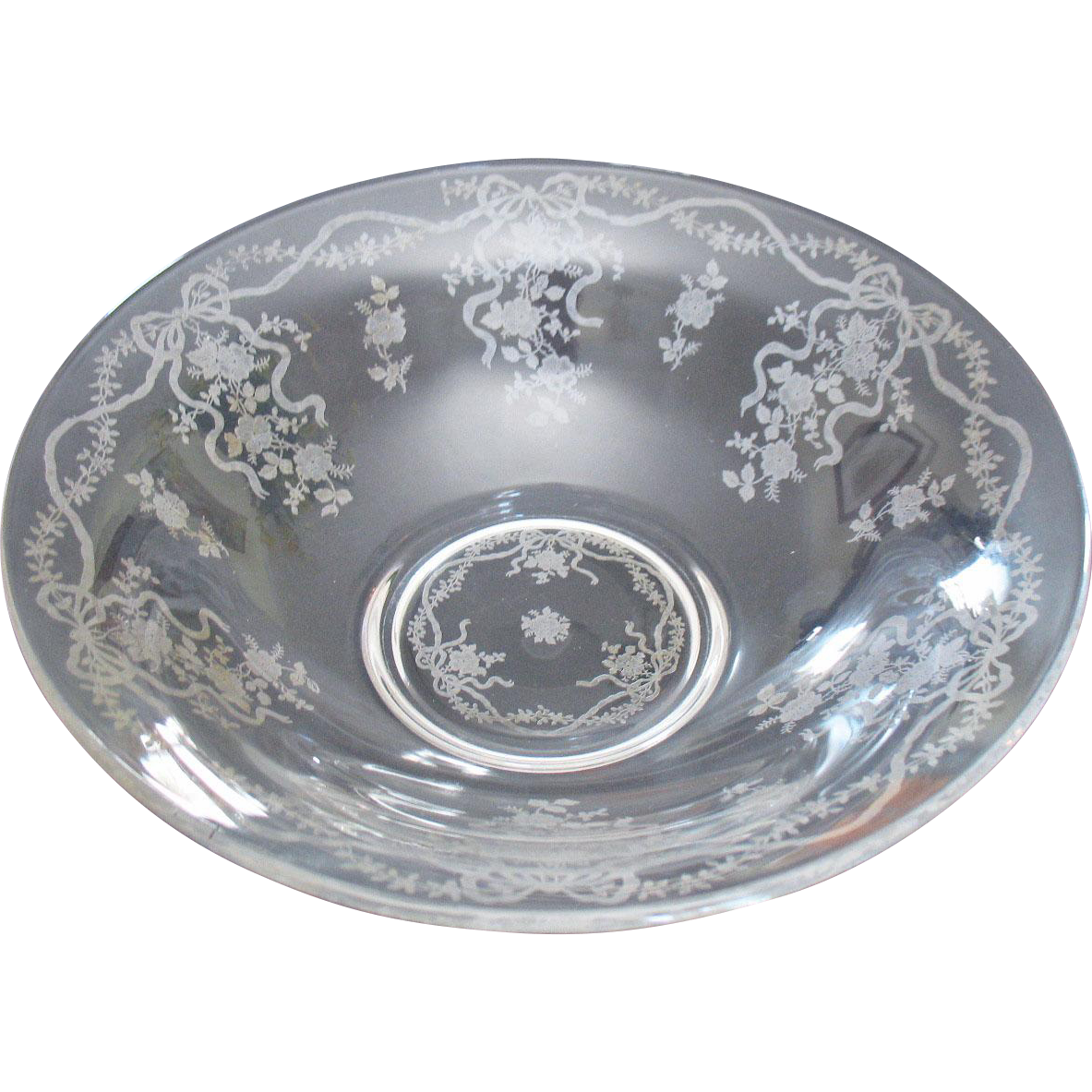 Vintage Fostoria Crystal Flared Bowl Romance Etching 1942-71 Very Good Condition