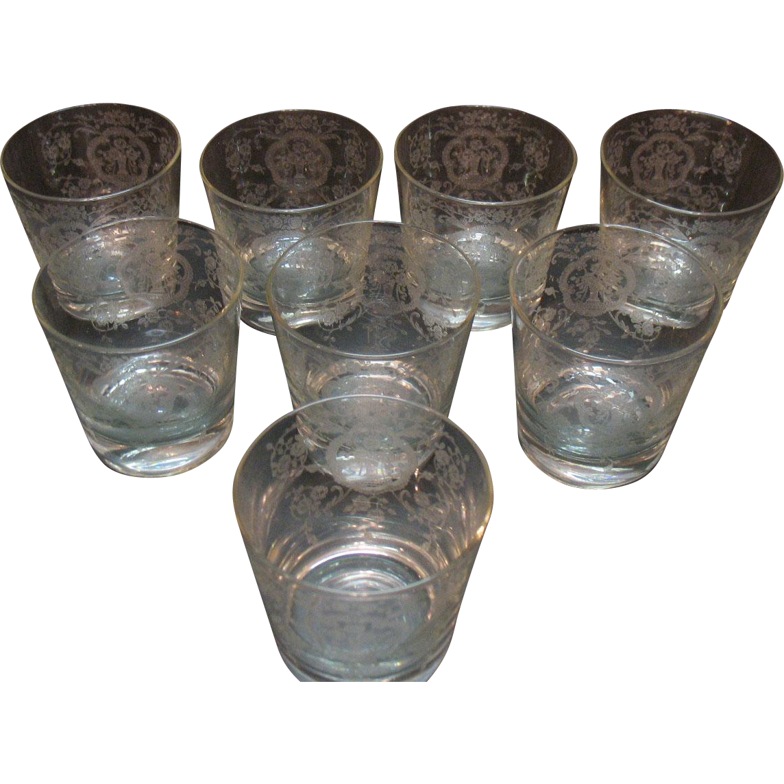 Vintage Cambridge Glass (8) Low Ball Bar Glasses with Lotus Glass Co Etching of Bridal Bouquet 1940-50s Very Good Condition