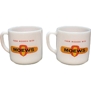 Vintage Moews Advertising Glass Mugs by Federal 1950-60s Very Good Condition