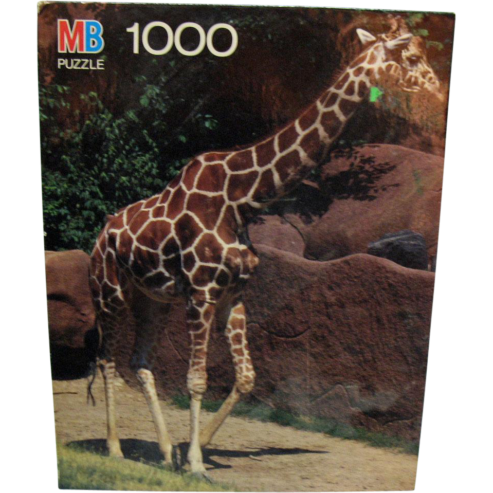 Vintage Milton Bradley 1988 1000 Piece Giraffe Puzzle Never Opened