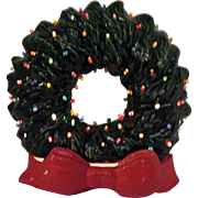 Vintage Ceramic Christmas Wreath with Faux Plastic Lights Lit up Base 1970s Very Good Condition
