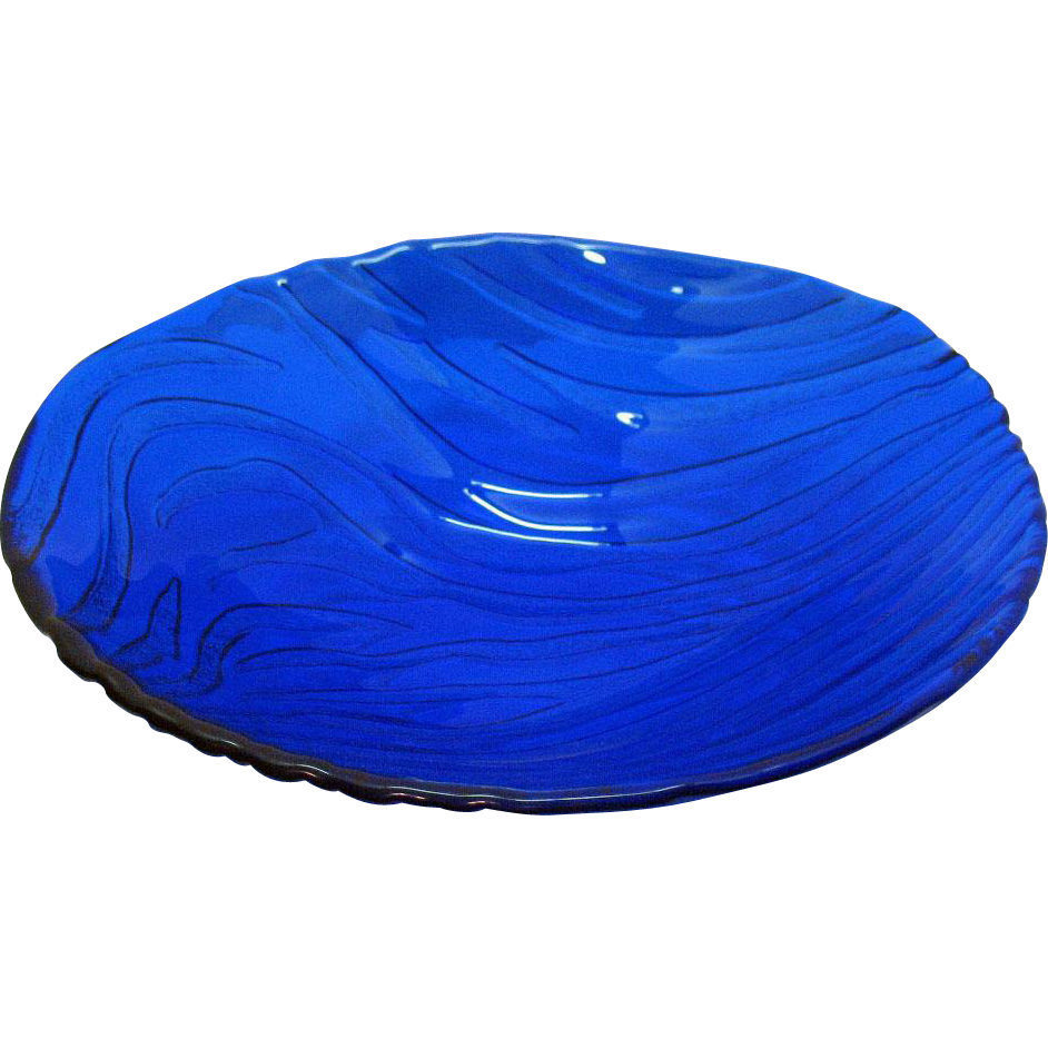 Vintage Large Cobalt Blue Bowl Indiana Glass 1980s Very Good Condition