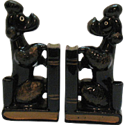 Vintage Ceramic Poodle Dog Bookends with Pen Holders 1950s Made in Japan Good Condition