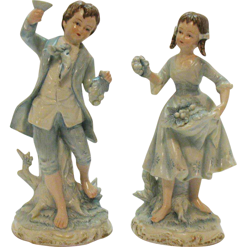 Vintage Andrea by Sadek Young Girl & Boy with Grapes #7190 Very Good Condition