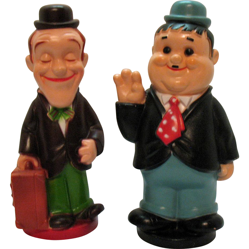 Vintage Stan Laurel & Oliver Hardy Plastic Banks Play Pal Plastics, Inc. 1972 Very Good Condition