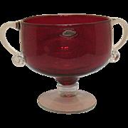 Vintage Blenko Handcraft Ruby Vase Crystal Foot & Handles Good Condition