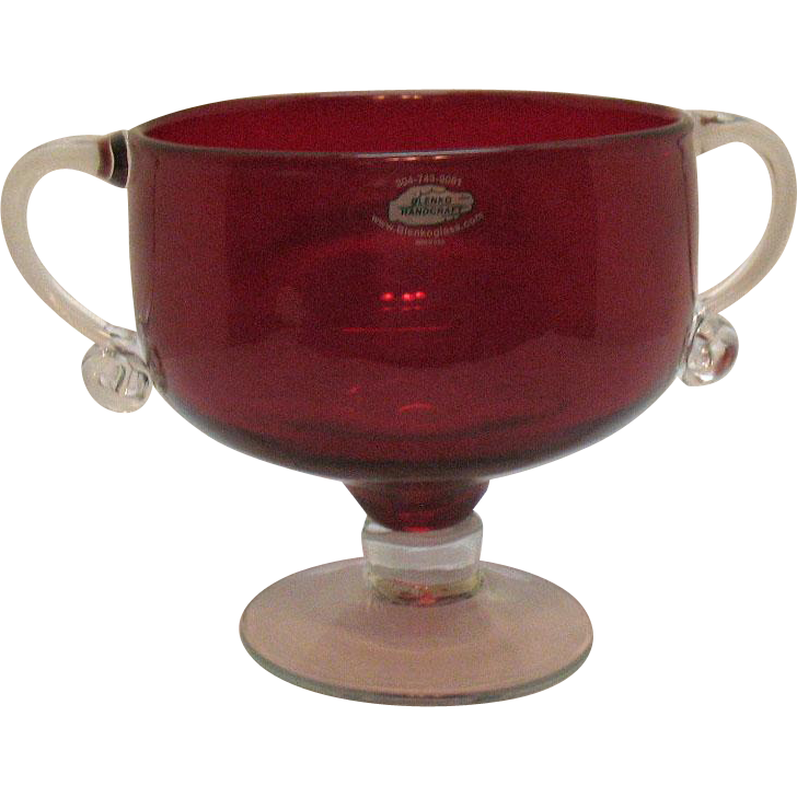 Vintage Blenko Handcraft Ruby Vase Crystal Foot & Handles Good Condition