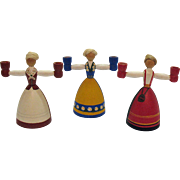 Vintage Folk Art Wooden Candle Holders Hand Painted from Sweden 1960-70s Very Good Condition