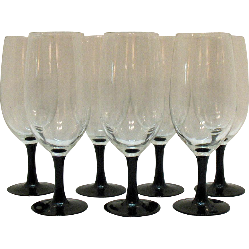 Vintage 7 Ice Tea Glasses by Arc International in the Luminarc Line of Stemware 1970-80s Good Condition