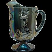 Vintage Indiana Glass Blue Carnival Glass Pitcher Grape & Vine Motif 1970s Good Condition