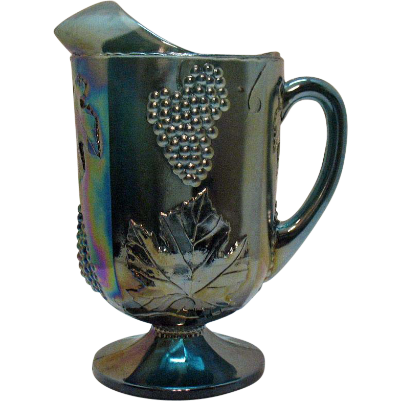 Vintage Indiana Glass Blue Carnival Glass Pitcher Grape & Vine Motif 1970s Good Condition