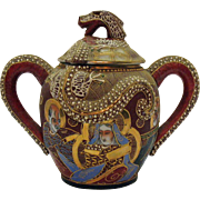 Vintage Porcelain Japanese Dragon ware Tea Caddy Moriage Geisha Décor Early 1920-30s No Damage