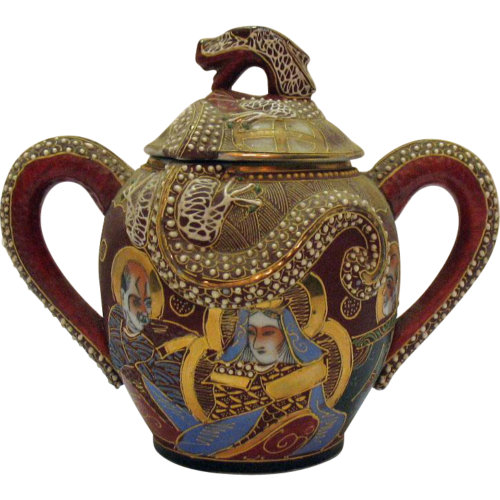 Vintage Porcelain Japanese Dragon ware Tea Caddy Moriage Geisha Décor Early 1920-30s No Damage