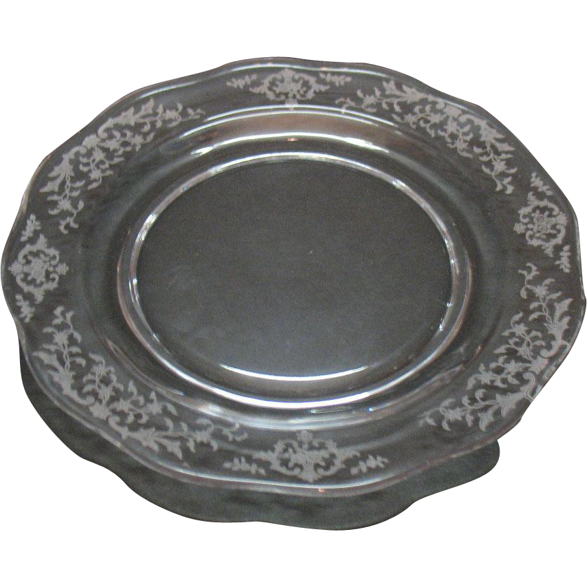 Vintage Fostoria 12 Crystal 7 Inch Salad Plates Navarre Etching 1936-82 like New Condition