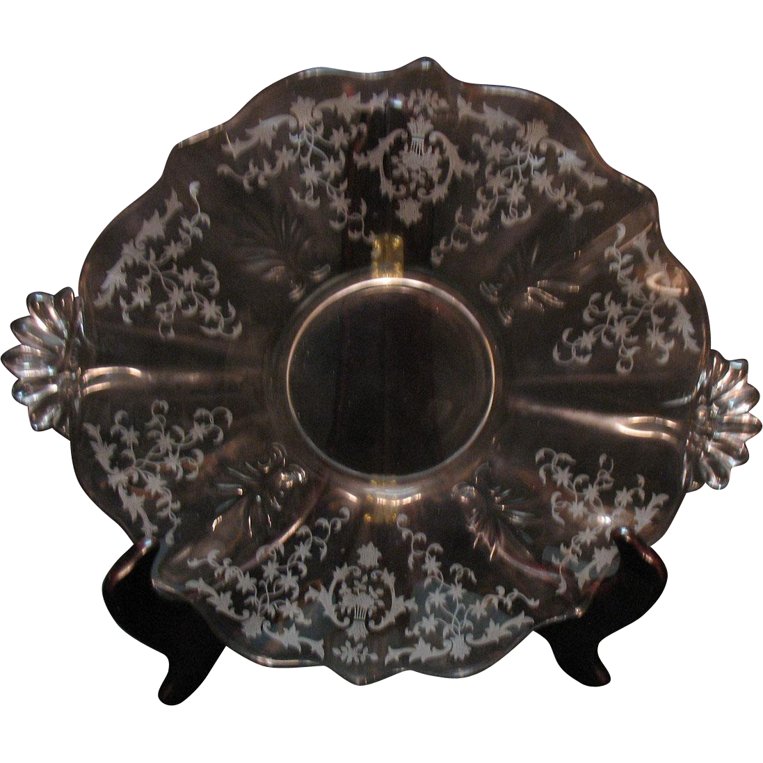 Vintage Fostoria 2 Handled Crystal Cake Plate on Baroque Blank with Navarre Etching 1936-82 Very Good Condition