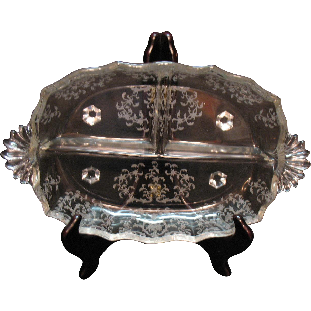Vintage Fostoria Crystal 3 Part Relish Dish with Navarre Etching 1936-82 Very Good Condition