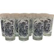 13 Vintage Currier & Ives 12 Ounce Tumblers Summer Scene 1960s Very Good Condition