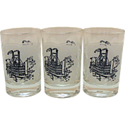 Three Vintage Currier & Ives 4 Ounce Juice Glass Tumblers Paddle Boat Motif 1960s Very Good Condition