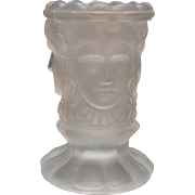 Vintage Frosted/Satin Glass Toothpick Holder 3 Faces Motif L.G.Wright 1970s Good Condition