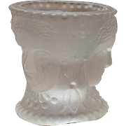 Vintage Frosted/Satin Glass Salt Dip 3 Faces Motif L.G.Wright 1970s Good Condition