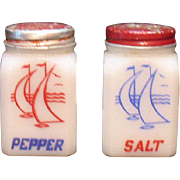 Vintage Milk Glass S&P Shakers by McKee Sailboat Motif Good Condition