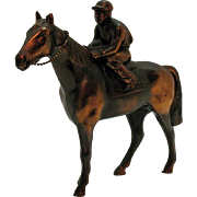 Vintage Jockey on Metal Horse figurine with Copper Wash 1950s Very Good Condition