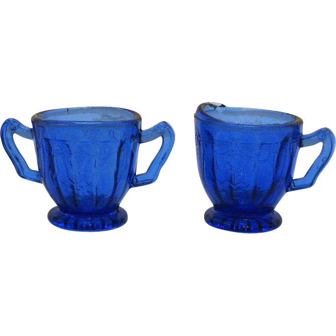 Vintage Cobalt Blue Kids Sugar & Creamer by Mosser with Cameo Like Motif 1980s