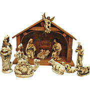 Vintage Nativity Set Made in Japan 1950s Papier Mache Figurines Manger with Music Box & light Good Condition
