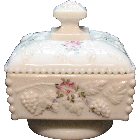 Vintage Westmoreland Low Footed Milk Glass Covered Compote Grape & Leaf Motif with Added Rose & Leaves Painted Decal 1970-80s Good Condition