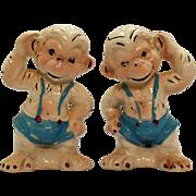 Vintage Monkey S&P Shakers 1940-50s Original Corks Good Condition
