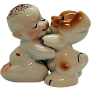Vintage VanTellingen Hugging/Kissing Boy & His Dog S&P Shakers by Regal China Co. 1950s
