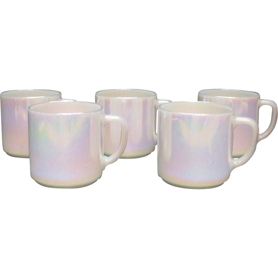 Vintage Federal Glass Co. 5 Moon Glow Mugs 1974 Very Good Condition