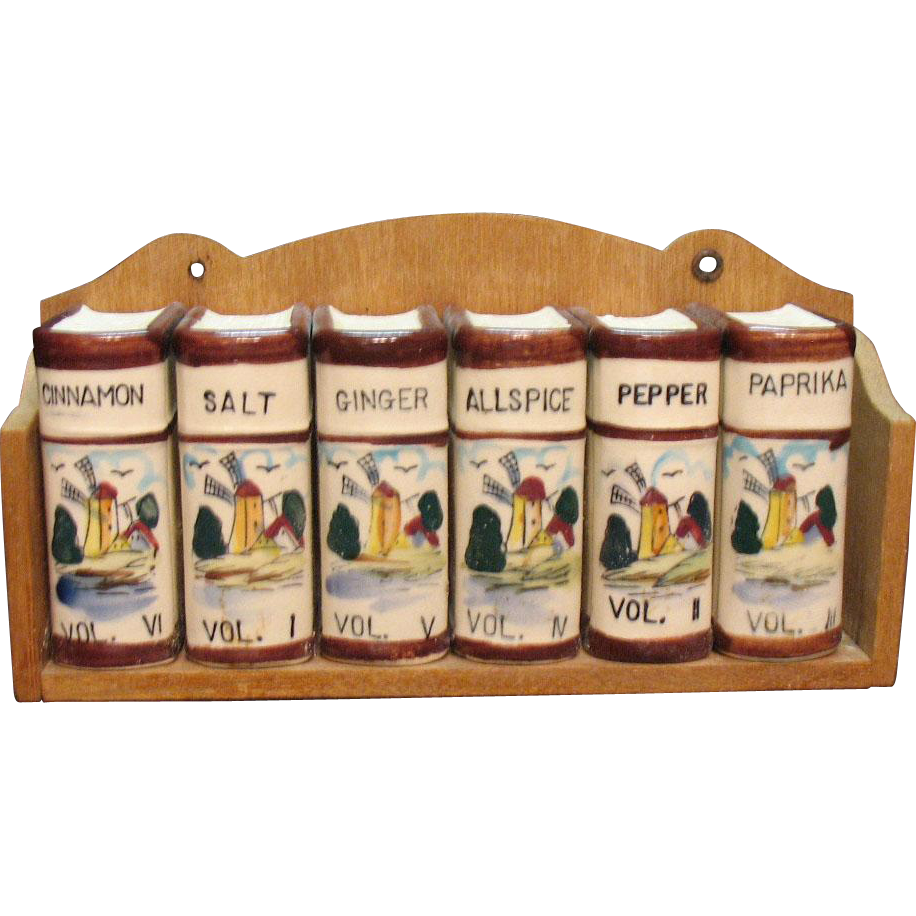 Vintage Decorative & Functional Kitchen Spice Rack with Dutch Windmill Decals 1950s Very Good Condition