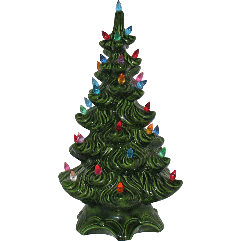 Vintage Ceramic Christmas Tree with Faux Plastic Lights & Music Box Atlantic Mold 1970s Good Condition