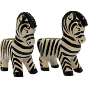 Two Vintage Souvenir Zebra Planters Dryden Canada 1950s Good Condition