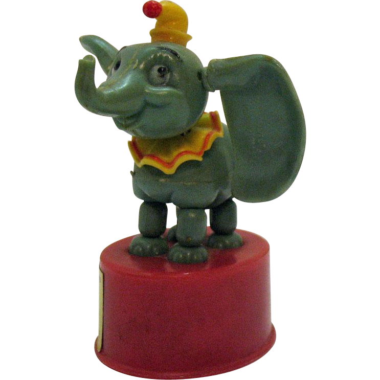 Vintage Walt Disney Push Bottom Toy Dumbo 1960s Good Condition