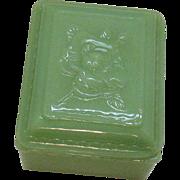 Vintage Anchor Hocking Fire King Jadeite Vanity Box 1950-60s Good Condition