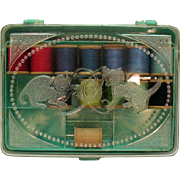 Vintage Green Marbleized Plastic Sewing Box Kittens on Lid Sewing Accessories Inside 1950s