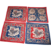 Vintage 5 Cowboy Handkerchiefs 1950s Good Condition