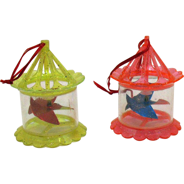 Vintage 2 Plastic Twinkler Christmas tree Ornaments Shape of Birdcage 1950s Good Condition.