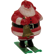 Vintage Santa on Skis Candy Holder 1950s Complete Good Condition