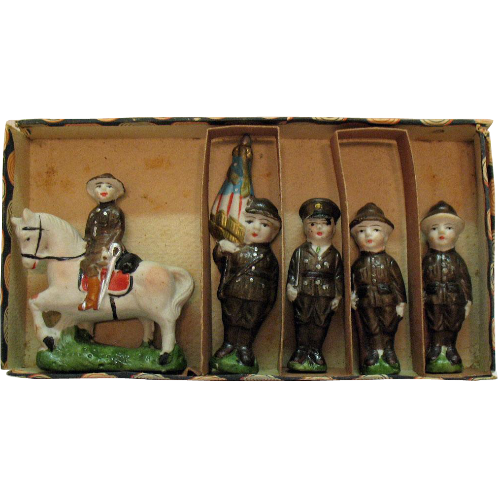 Vintage Porcelain Soldiers 1920s Made in Japan Original Box Very Good Condition