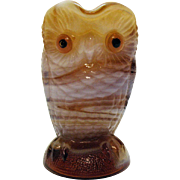 Vintage Imperial Carmel Colored Slag Glass Owl Creamer 1951-72 Very Good Condition