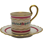 Vintage Limoges Demitasse Cup & Saucer by Imperial of France Good Condition