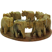 Vintage Circle of Elephants in Onyx Hand Carved & Made in India 1950s Good Condition
